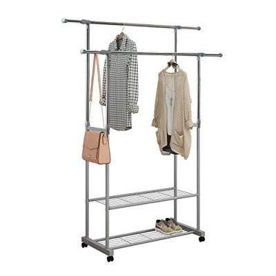 HOME BI Adjustable Garment Rack with 2 Tier