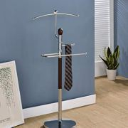 King's Brand Wood & Metal Suit Valet Rack Stand Organizer