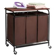 Marble Field 3-Bag Heavy-Duty Rolling Laundry Cart