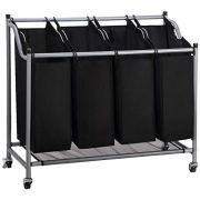 Rolling Wheels Olive Laundry Sorter Cart