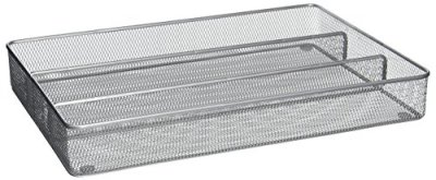 Utensil Organizer Steel Mesh 3-Compartment Cutlery