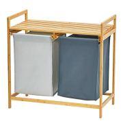 WORTHYEAH Bamboo Laundry Hamper and Shelf