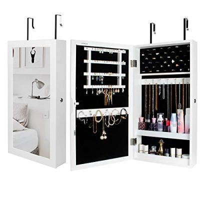 Jewelry Cabinet Armoire Wall-Mounted with Mirror