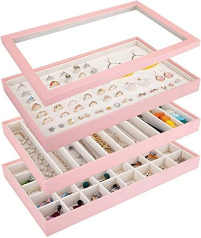 Mebbay Stackable Jewelry Trays Organizer with Lid