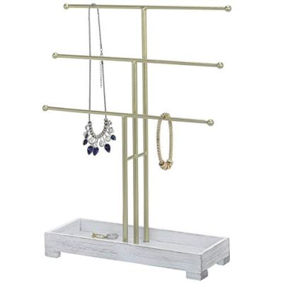 MyGift 3-Tier Gold-Tone Metal Jewelry Display Stand