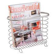 mDesign Decorative Metal Farmhouse Magazine Holder and Organizer Bin