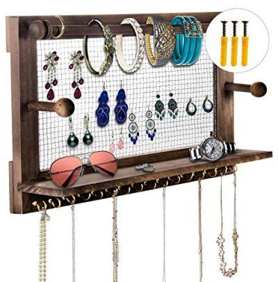 Jewelry Organizer, POZEAN Rustic Jewelry Organizer Wall Mounted