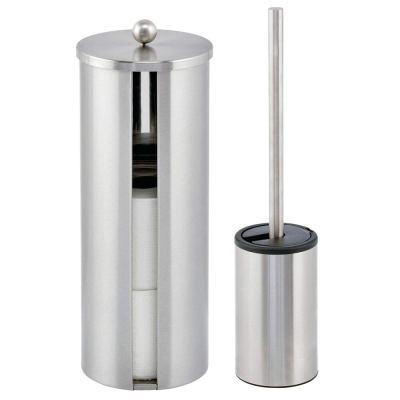 mDesign Modern Bathroom Storage and Toilet Brush Set