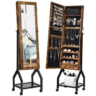 CHARMAID Industrial Jewelry Armoire with Full Length Mirror
