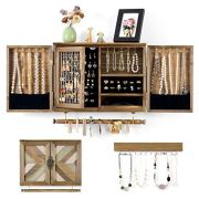 Wall Mounted Jewelry Holder with Wooden Barn Door
