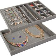 Mebbay 4 in One Stackable Sackcloth Jewelry Trays