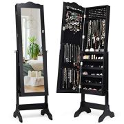 Giantex Jewelry Box Armoire with Mirror, Standing Jewelry Cabinet
