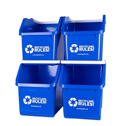 Stackable Recycling Bin Container with Handle 6 Gallon