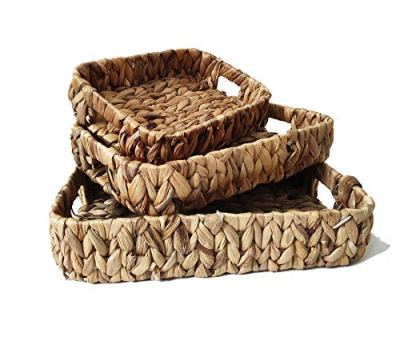 ZKZNsmart 3-Piece Decorative Tray Water Hyacinth Storage Basket
