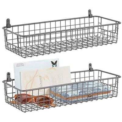 mDesign Portable Metal Farmhouse Wall Decor Storage Organizer