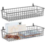 mDesign Portable Metal Farmhouse Wall Decor Storage Organizer