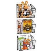 X-cosrack 3 Tier Hanging Metal Wire Basket Bin with 6 Hooks