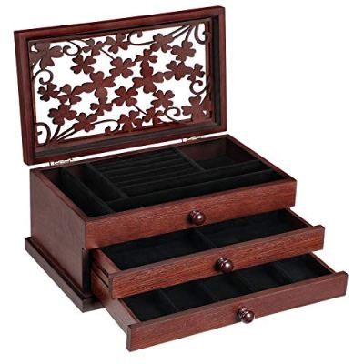 SONGMICS Wooden Jewelry Box with Floral Carving