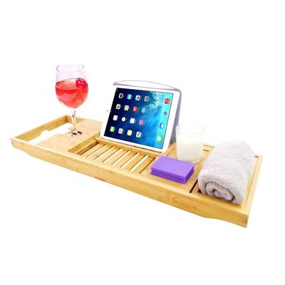 PURENJOY Bamboo Bathtub Tray Caddy with Wine, Book and Soap Holder