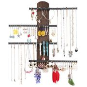Keebofly Wall Mounted Jewelry Organizer Rustic Wood & Ample Storage