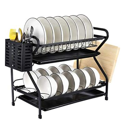 2-Tiers Metal Dish Drainer Rack Large Anti-Rust Kitchen
