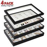 GISK Set of 4 Velvet Jewelry Trays Organizer Set