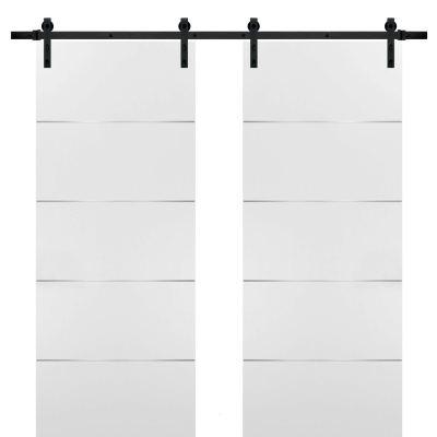 Double Barn Sliding White Doors 56x80 with Black Hardware