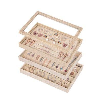 Sackcloth Stackable Jewelry Trays Organizer Set