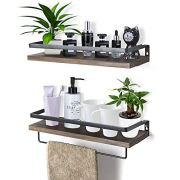 Rustic Floating Wall Shelves with Rails, Set of 2 Wood Wall Storage