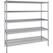 21 inch x 54 inch Chrome Wire 5 Shelf Kit