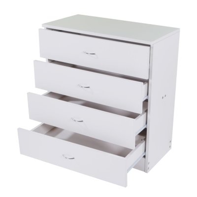 Panow 4-Drawer Dresser White Wood Cabinet