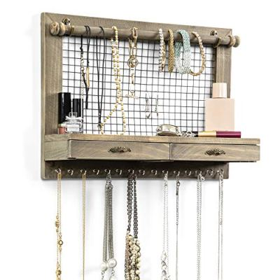 Rustic Wall Mounted Jewelry Organizer with Ring and Earring Drawers