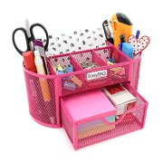 Desk Organizer Pencil Holder 9 Compartments with Drawer