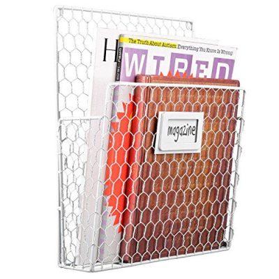 Chicken Wire Wall-Mounted Metal Magazine Organizer Basket