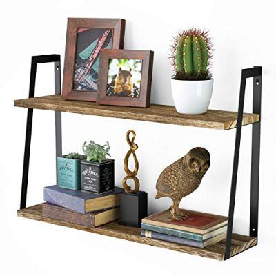 Floating Wall Shelves, 2-Tier Rustic Wood Shelves for Bedoom