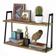 Floating Wall Shelves, 2-Tier Rustic Wood Shelves for Bedoom