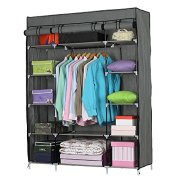5-Layer Portable Clothes Wardrobe with Hanging Rack and 12 Storage