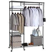 Heavy Duty Clothes Wardrobe Free-standing Closet Garment Rack