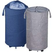 Newest ZYMEO 2 Pack Collapsible Laundry Basket with Wheels
