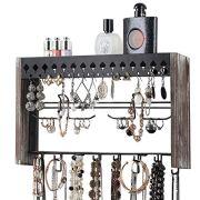 JackCubeDesign Rustic Wood Wall Mount Jewelry Organizer