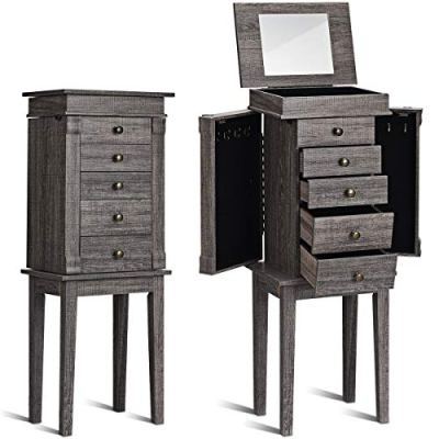 Standing Jewelry Armoire with Mirror Jewelry Cabinet
