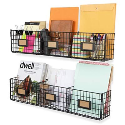 Wall Mount Wire Basket Storage Magazine Holder