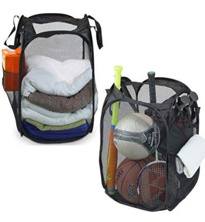 Mesh Pop-Up Laundry Hamper Basket with Side Pocket
