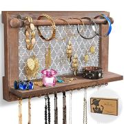 ASHLEYRIVER Wall Mounted Rustic Wood Jewelry Organizer