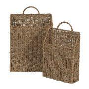 Household Essentials Seagrass Wall Basket Set, 2 Piece