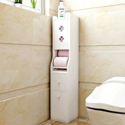 IOTXY Bathroom Floor Storage Cabinet, Solid Wood Toilet Tissue Cabinet