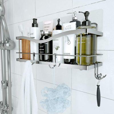 Basket Shelf with Hooks for Hanging Sponge and Razor
