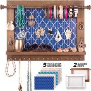 Wall Mounted-Rustic Wooden Jewelry Hanger
