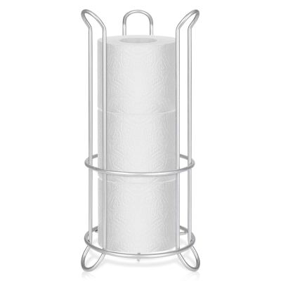 Metal Free Standing Toilet Paper Holder Stand with Storage for 3 Rolls