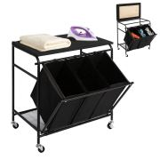 Laundry Sorter Cart with Ironing Board with Side Pull